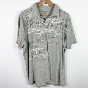 DKNY Gray Polo Shirt Short Sleeve Size XL Mens Top